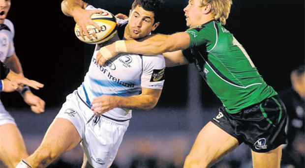 Tonight Rob Kearney makes his first appearance for Leinster since last year's clash against Connacht on October 23. Kearney is seen here taking on former Connacht winger Fionn Carr, who will be on the Leinster bench against Edinburgh