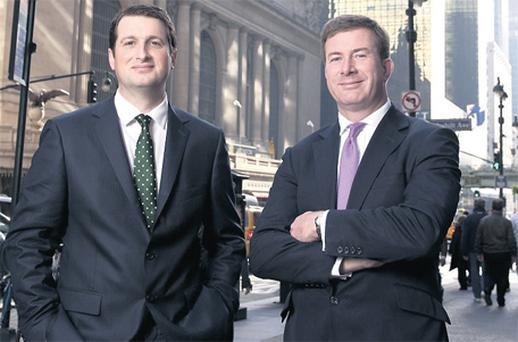 Pictured in front of the newly expanded A&L Goodbody office in the Chrysler Building, New York, are Mr McCourt and Julian Yarr, managing partner, A&L Goodbody