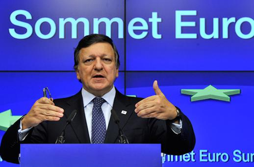 European Commission President Jose Manuel Barroso gestures during a press conference held at the end of a Eurozone summit at the Justus Lipsius building, EU headquarters in Brussels, on October 27. Photo: Getty Images