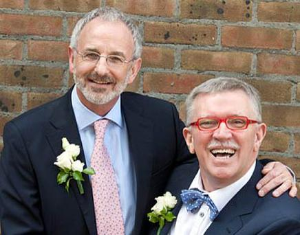 Michael Murphy and Terry O'Sullivan pictured at their civil partnership ceremony in June. Photo: Mark Condren