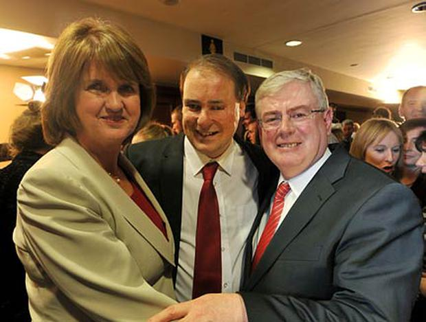 Patrick Nulty (centre) pictured with Joan Burton and Eamon Gilmore last night. Photo: Damien Eagers
