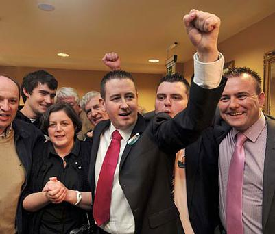 David McGuinness and his supporters at the CityWest hotel. Photo: Damien Eagers