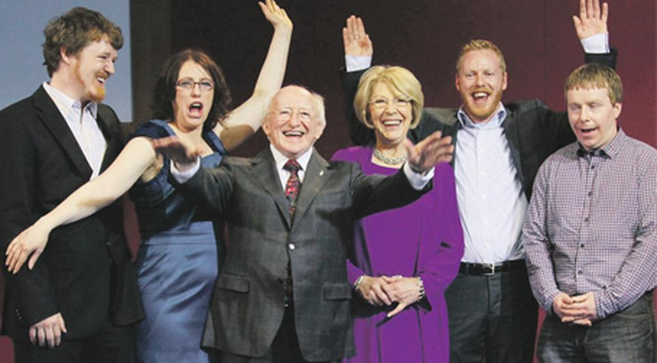 Michael D Higgins and his wife Sabina with their family (from left) John, Alice Mary, Michael and Daniel