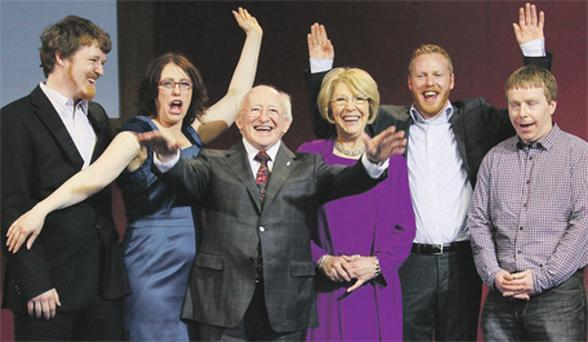 President-elect Michael D Higgins and his wife Sabina with their family (from left) John, Alice Mary, Michael and Daniel at Dublin Castle on Saturday evening for the announcement of the results of the presidential election