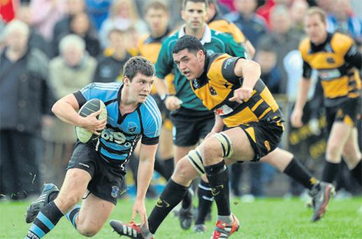Shannon's Rob Guerin evades Darren Gallagher of Young Munster in Saturday AIL Division 1A clash