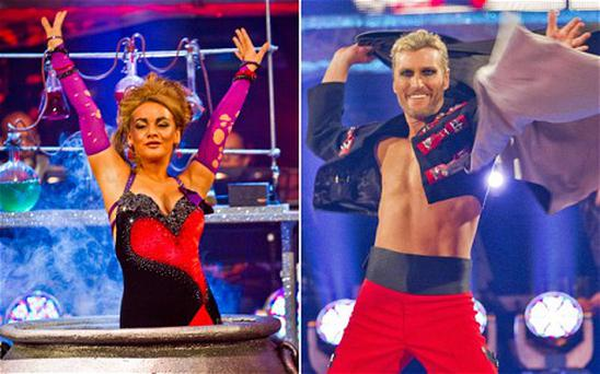 Robbie Savage, right, and Chelsee Healy during their Saturday night performances Photo: BBC
