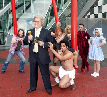 Simon Delaney keeps the peace as Jerry Springer with the cast members of the Jerry Springer the Opera at the Grand Canal Theatre. Show opens tonight Monday 31st October and will run until Saturday 5th November. Pic Brian McEvoy NO REPRO FEE