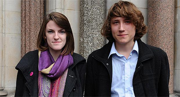 Katy Moore and Callum Hurley outside the Royal Court of Justice where they are launching a High Court challenge against university tuition fee increases