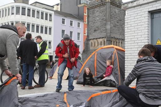 Protestors at Occupy Waterford yesterday