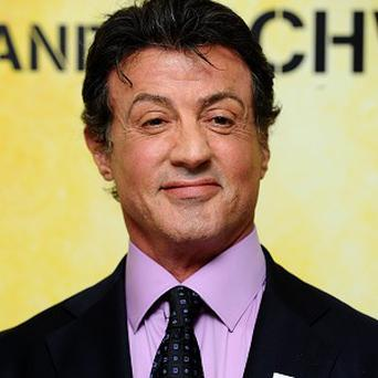 Sylvester Stallone is filming on the Expendables 2 set