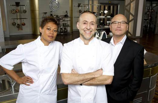 Masterchef: The Professionals. Pictured: (L-R) Monica Galetti, Michel Roux Jr and Gregg Wallace