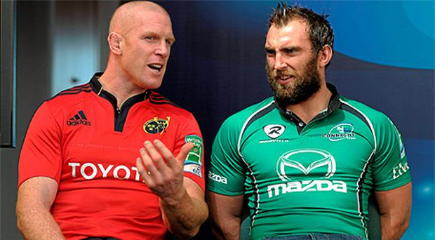 Munster's Paul O'Connell and Connacht's John Muldoon at the Heineken Cup 2011/12 Irish launch