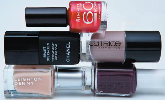 Pictured, clockwise from top: Rimmel Lycra Pro in Red Carpet, Catrice in Lost in Mud, essie in Carry On, Leighton Denny in Creme de la Creme, Chanel Top Coat Velvet