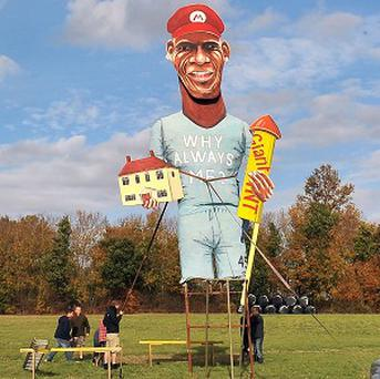 Mario Balotelli has been unveiled as the celebrity guy by the Edenbridge Bonfire Society in Kent