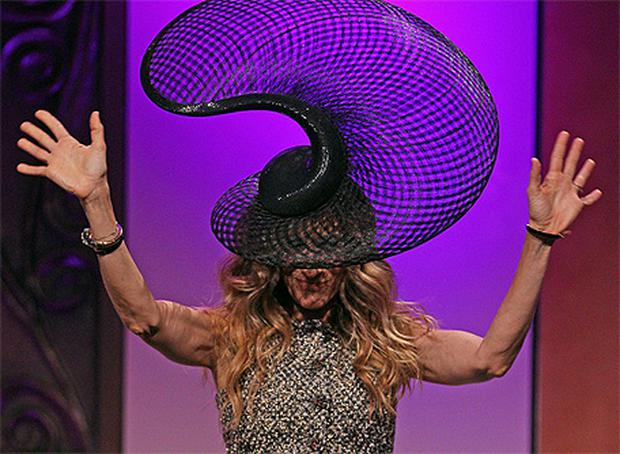 Sarah Jessica Parker wears a Philip Treacy designed hat in Melbourne yesterday