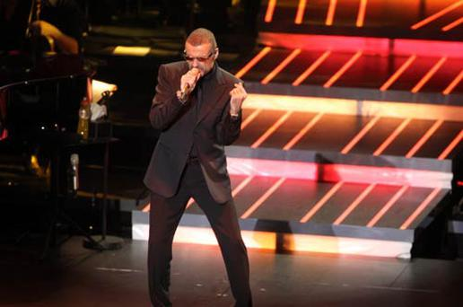 George Michael perfoming in the O2 on Tuesday night.