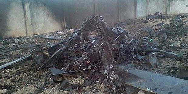 Wreckage in the Bin Laden compound after the US raid