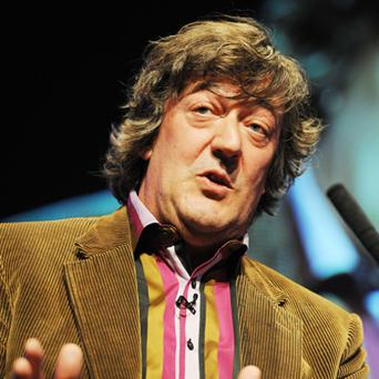 Stephen Fry who was on a UK-bound superjumbo carrying more than 250 passengers that was forced to make an unscheduled landing after suffering midair engine problems. Photo: PA