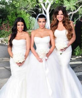 Kim Kardashian (centre) on her wedding day