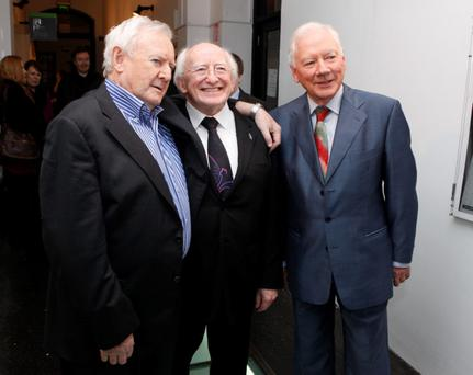 03/11/2011(L to r) Niall Toibin,President of Ireland Elect Michael D Higgins & Gay Byrne where Niall recieved a Lifetime Achievement Award from IFTA during a Life on Screen Tribute at the IFI, Dublin.Photo: Gareth Chaney Collins
