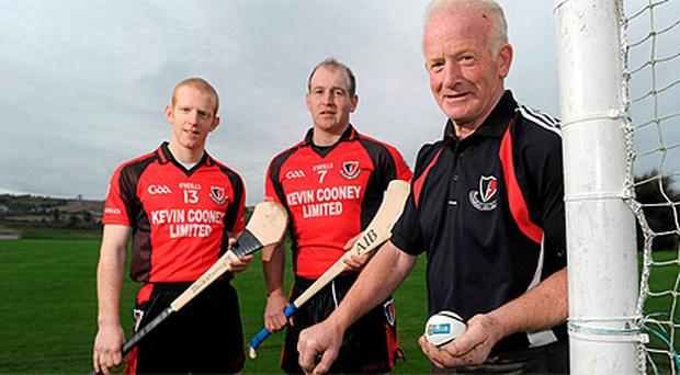 Brothers Rory, left, and Michael Jacob with their father Mick Jacob pictured at Oulart-The Ballagh as the club prepare to face Kilkenny champions James Stephens this Sunday in the AIB Leinster Club SHC quarter-final