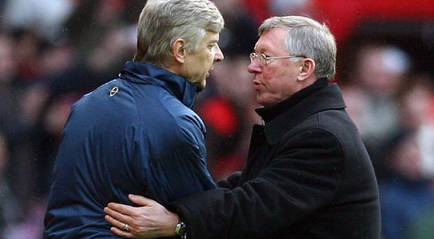 Arsene Wenger and Alex Ferguson were once known for their fiery relationship as their sides vied for Premier League glory. Photo: Getty Images