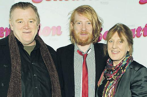 Main: actor Domhnall Gleeson, centre, with parents Brendan and Mary at the opening of his film 'Sensation' at the Irish Film Institute last night