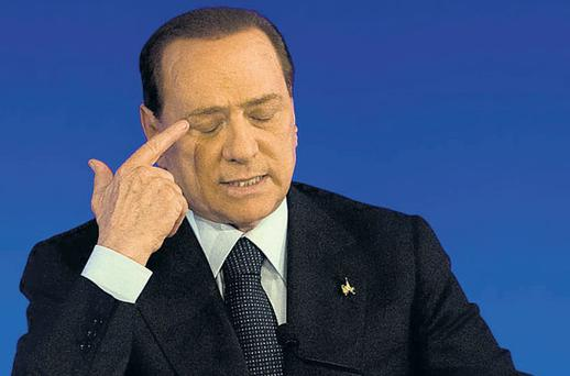 Italian Prime Minister Silvio Berlusconi at the G20 summit in Cannes yesterday