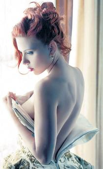 Up close and personal: Scarlett Johansson poses forVanity Fair