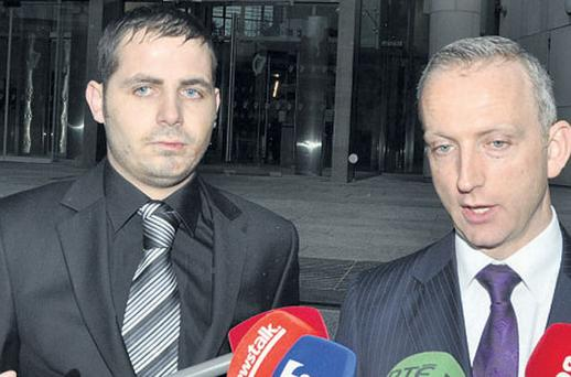 Leonard Watters leaving court with his solicitor, Cahir O'Higgins