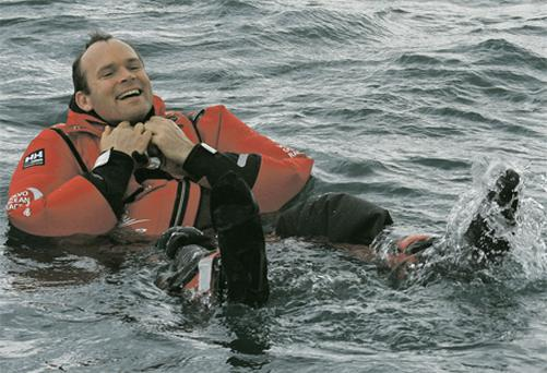 Marine Minister Simon Coveney takes a dip at the launch of the Volvo Ocean Race in Spain