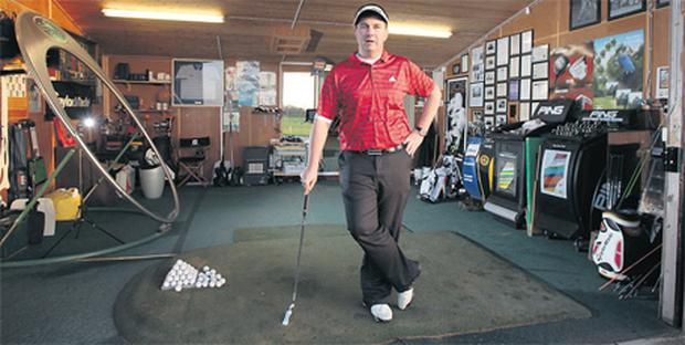 Shane O'Grady, professional at Black Bush Golf Club, who has installed a specialised putting training facility complete with up-to-date video technology at the club