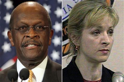 Republican presidential candidate Herman Cain and Karen Kraushaar in 1999