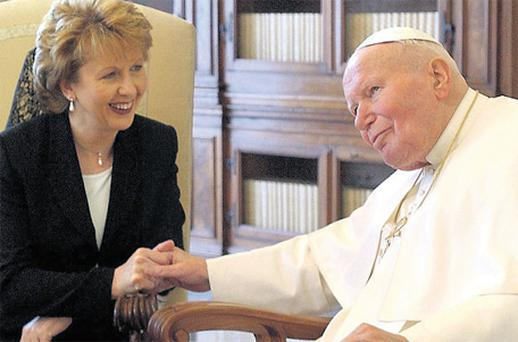 Mary McAleese dresses in black for meeting the Pope