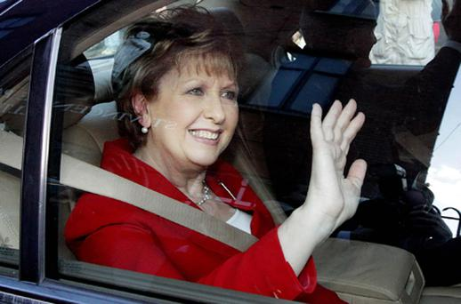President Mary McAleese waves to well wishers after she marked her last day in office by visiting the St Vincent de Paul homeless centre for men in Christchurch, Dublin. Photo: PA