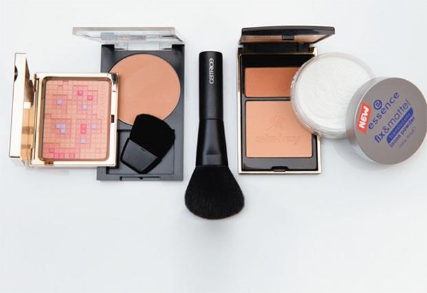 Pictured, from left: Clarins Colour Definition 3D Radiance Face Powder; Revlon PhotoReady Powder; Catrice Powder Brush; Sisley Sun Glow Pressed Powder; Essence Fix and Matte Translucent Powder