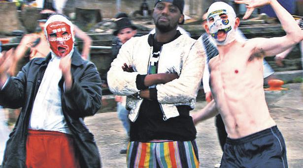 A still from The Rubberbandits' new video, 'Black Guy ( I Need A Black Guy In My Gang)'