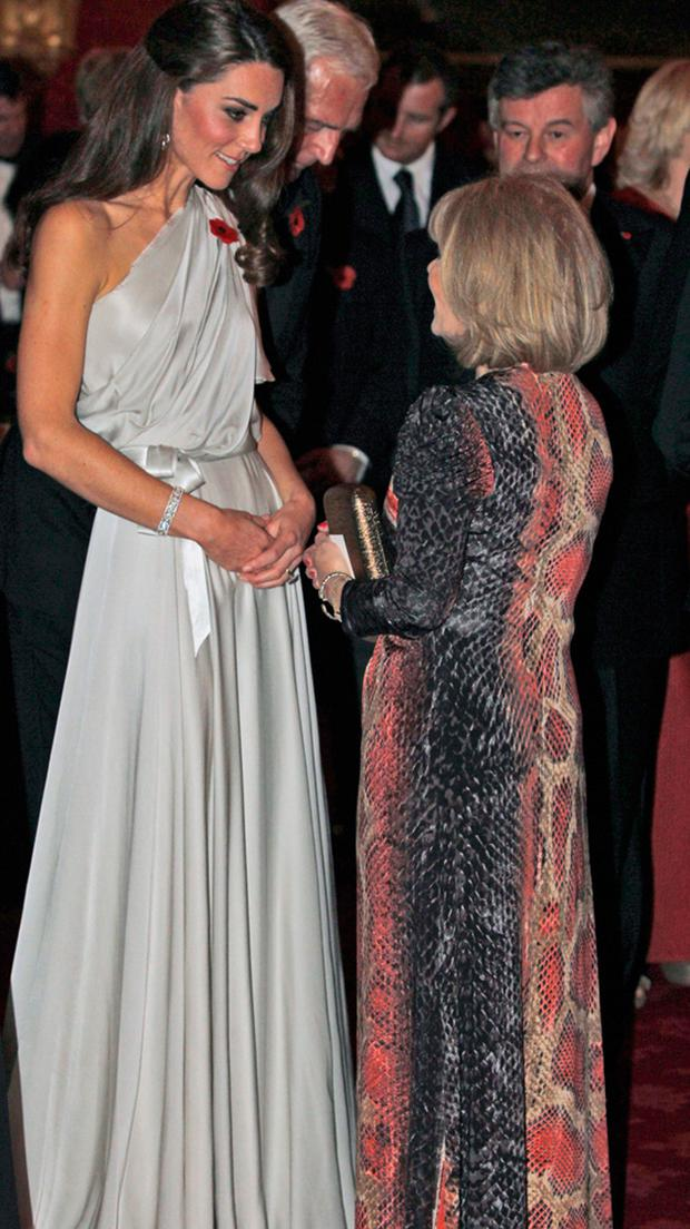 Catherine, Duchess of Cambridge (L) at a reception in aid of the National Memorial Arboretum Appeal at St James's Palace on November 10, 2011 in London