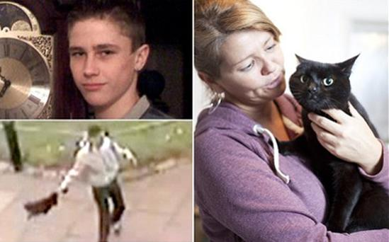 Police were wanting to speak to Riain Richards (top left) in connection with the incident involving Mowgli the cat, seen here with his owner Michelle Buchanan. Photo: Bebo/Warren Allott