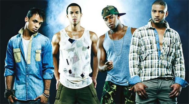 JLS, from left, Aston Merrygold, Marvin Humes, Ortise Williams and Jonathan Gill