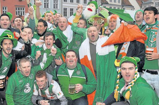 a group of Ireland fans in Tallinn for the Euro2012 play-off game
