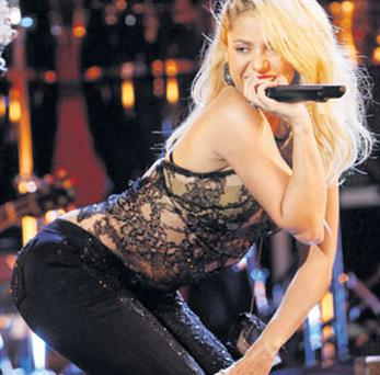 Shakira performing 'Loca' at the 12th annual Latin Grammy Awards in Las Vegas, Nevada.
