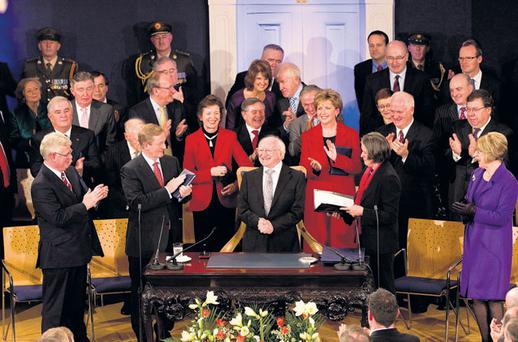 MAKING HISTORY: Michael D Higgins is sworn in, as President of Ireland at Dublin Castle on Friday
