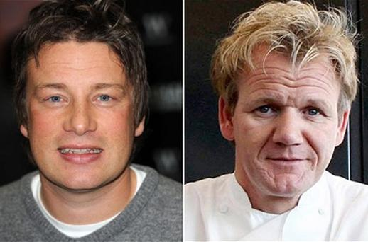Jamie Oliver (L) topped the charts last year but faces competition from Gordon Ramsay. Photo: PA