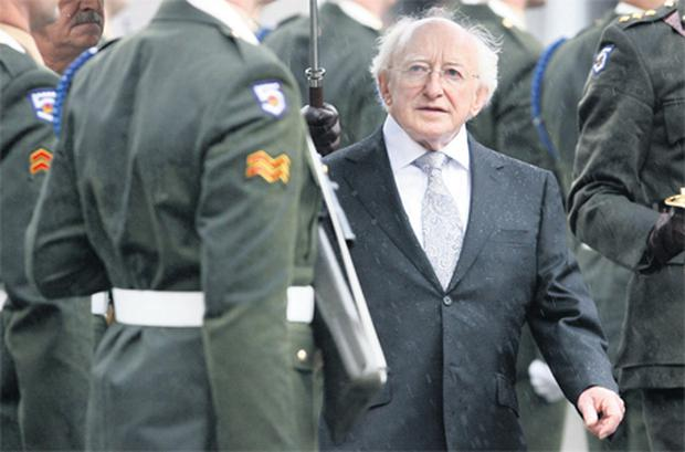President Michael D Higgins inspects the 5th Infantry Battalion Guard of Honour after his inauguration at Dublin Castle on Friday. Photo: Frank McGrath