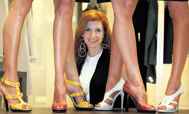 Yvonne Keating with the legs of Samina Zia, Tara Chetty and Asheena at the Jimmy Choo show at Brown Thomas, Dublin. ARTHUR CARRON/COLLINS