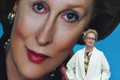 Meryl Streep unveils the poster for new film The Iron Lady on the South Bank in London. Photo: Getty Images