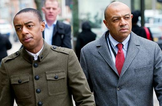 Benjamin Boateng, left, and his father Lord Boateng arrive at Kingston Crown Court