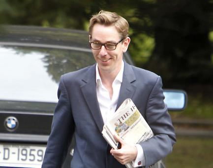 Ryan Tubridy pictured leaving RTE Radio Centre after his morning show today.