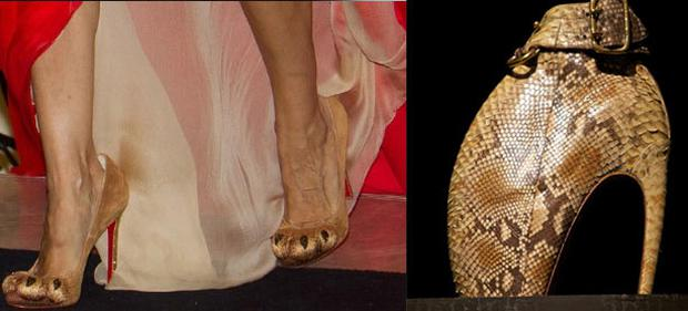 Left: Sarah Jessica Parker wears Louboutin 'Lion Paw' shoes. Right: Alexander McQueen Armadillo shoe